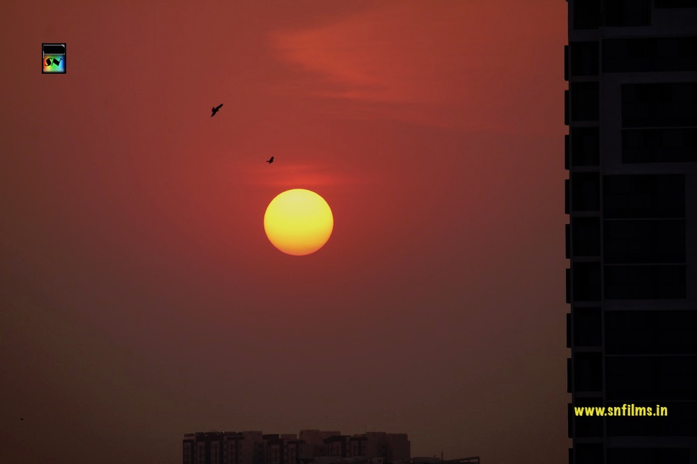 sunset - city life - bangalore - high rise building - romantic evening - photography