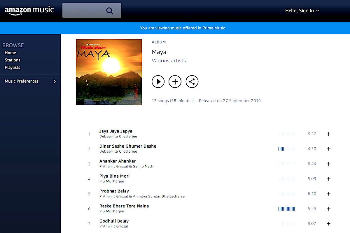 Maya - snfilms music album - release Amazon Prime Music
