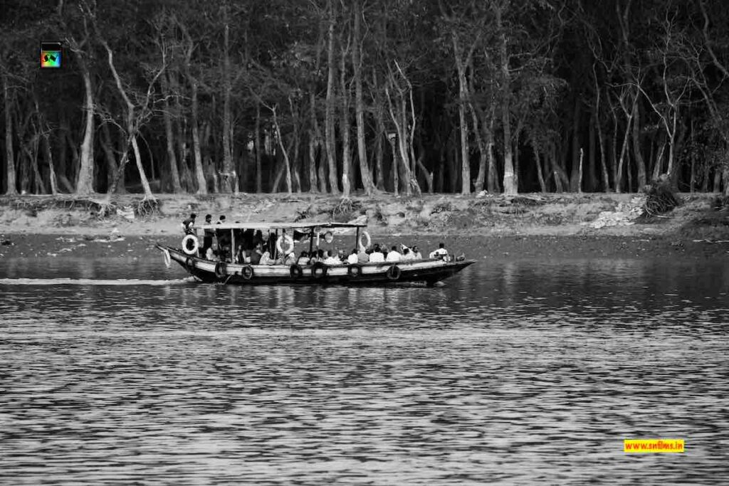 hooghly river forest boat sailing - black white photography - sanjib nath - sn films