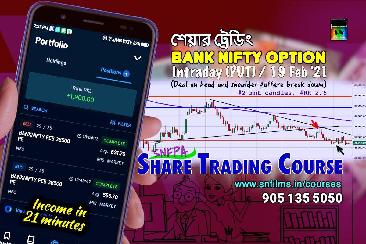 snfpa - share trading - intraday deal - 19 Feb 2021 - Bank Nifty Option (PUT)