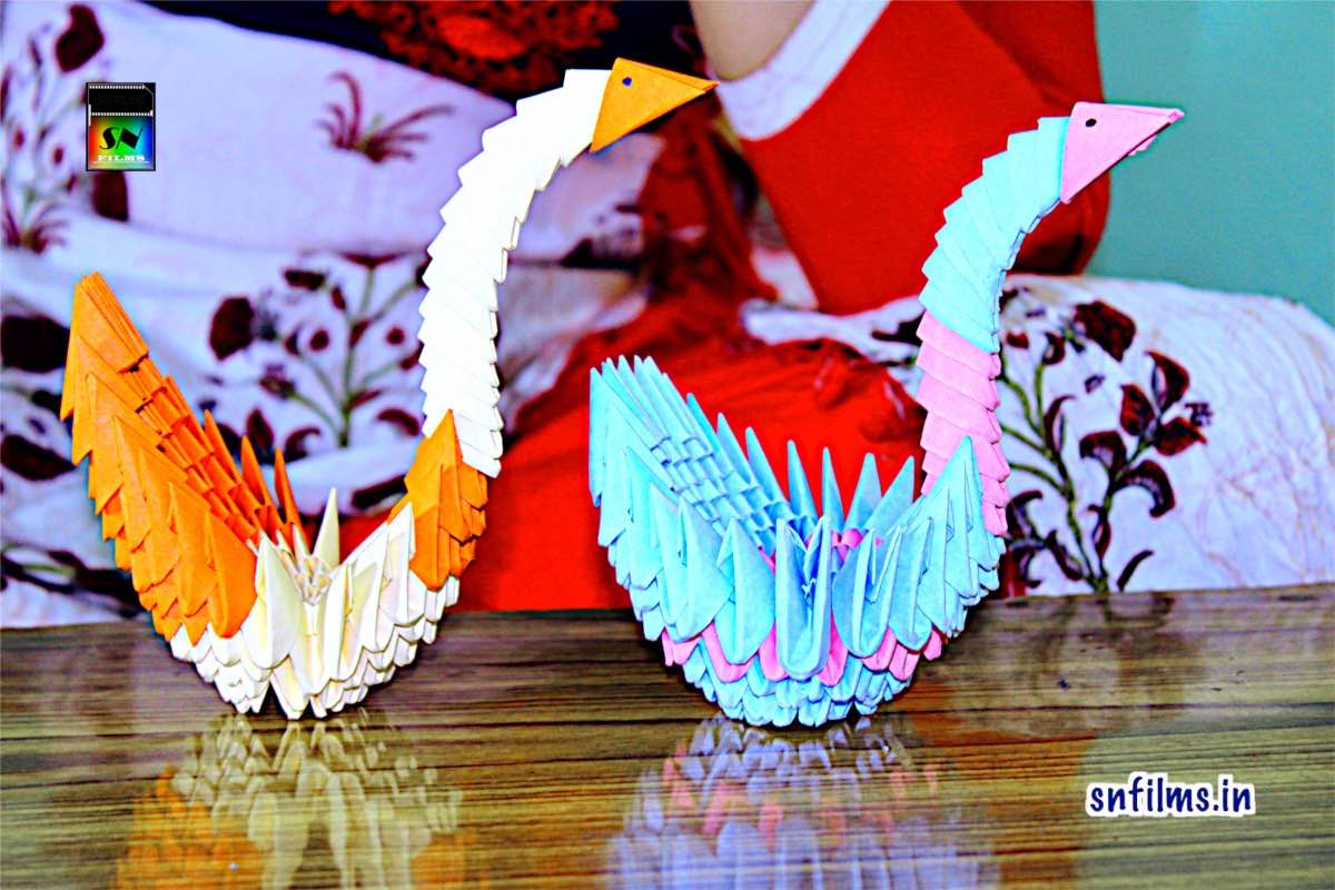 Paper craft - 3D Origami art work SWAN by Debjani Chattopadhyay